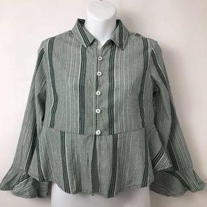 Free People Peplum Button Down Shirt Green S New